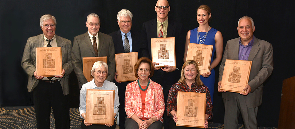 Front row, left to right:   Dottie Habel (accepted award on behalf of Paige Braddock); Theresa Lee, Dean; Cynthia Tinker (accepted award on behalf of John McManus);Back row, left to right:   Jim Nixon(accepted the award on behalf of John Turley); Mark Boling(accepted  the award on behalf of his father, Edward Boling); Jeff Becker (accepted award on behalf of Tim Townes);Tom Burman (accepted on behalf of George Demacopoulos); Cortney Piper,  and Ashley Capps. Larry McKay, not pictured, accepted the award in behalf of Bill Ross.