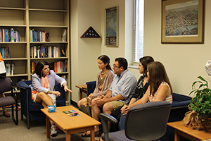 Davenport engages students in a conversation about the variety of programs within the Geography department