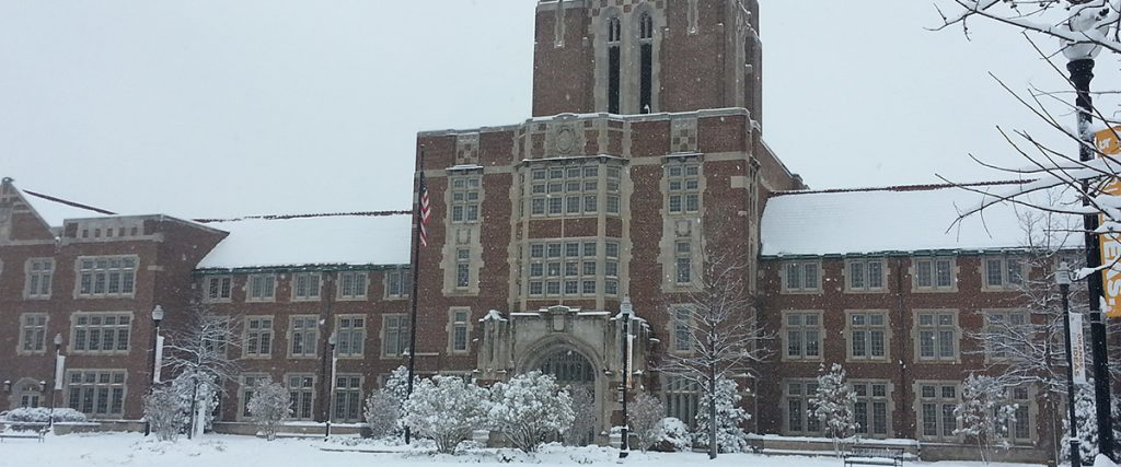 Ayres Hall in the Snow